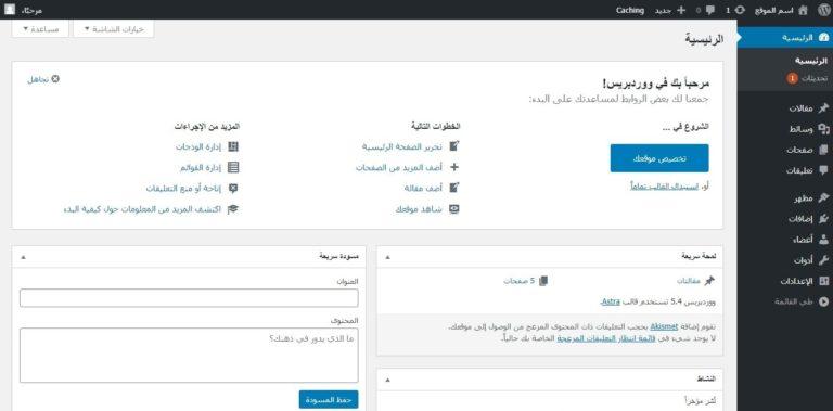 لوحة تحكم ووردبريس WordPress Dashboard